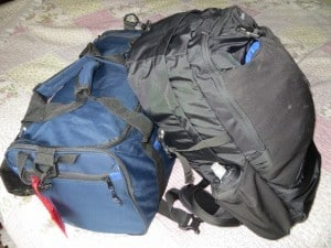 Day pack and small duffel bag: my only luggage for our 2.5 month Ecuador trip.